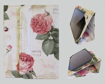 Galaxy Tab S2 Case, Fire HD 10 Case, Nexus 9 Case, Kindle Fire HDX 8.9 Case, Samsung Galaxy Tab 10.1, Nexus 10 Case Paris Pink Rose