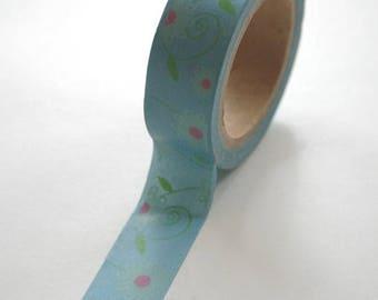 25% Off Summer Sale Washi Tape - 15mm - Floral Design on Steel Blue - Deco Paper Tape No. 481
