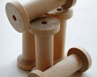 25% Off Summer Sale Large Wooden Spools - set of 60 - Natural Wood Thread Spools