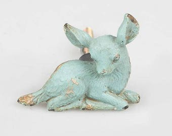Fawn Drawer Knob - New metal deer furniture handles in green or blue