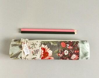Skinny Pencil Case Floral Prints Pencil Pouch Cute Pencil Case Floral Purse Organizer
