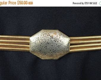 """ON SALE 4 Tier Snake Coil Belt 29-36"""" Vintage Gold Braided Metal Stretchy Floral Buckle Free US Shipping"""