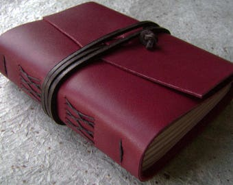 """Handmade rustic leather journal, 4"""" x 6"""", 288 pages, vintage style journal,leather sketchbook, travel diary  (2612)"""