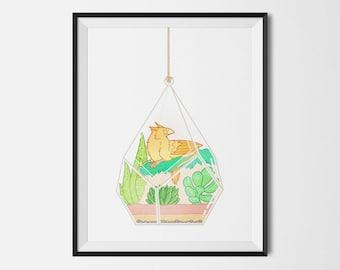 Gryphon fantasy succulent terrarium whimsical art print artwork griffon