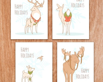 Holiday greeting note card deer moose doe stag fawn DIGITAL DOWNLOAD pdf printable christmas