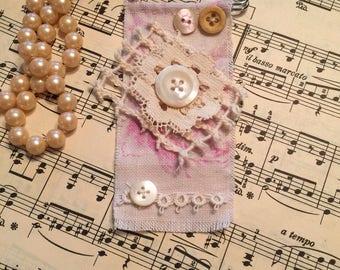 Shabby chic, linen, lacy, kilt pin, brooch, handmade
