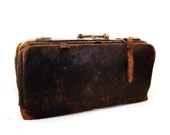 Vintage Leather Satchel, Brown Leather Bag, Storage Bag, Office Organization, Photo Prop