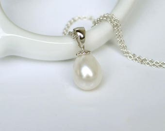 Teardrop Pearl Pendant Necklace | White Freshwater Pearl Drop | Argentium Sterling Silver Chain | Birthday Gift | Wedding | Ready to Ship