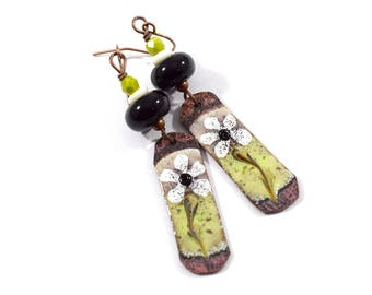 Daisy Earrings, Enameled Earrings, Black, Lime and White Earrings, Copper Earrings, Artisan Earrings, Boho Earrings, OOAK Earrings, AE144