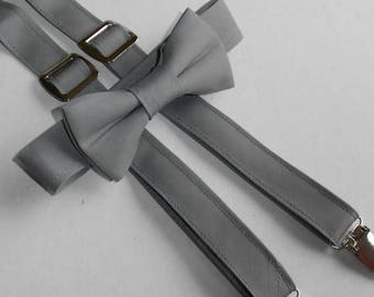 SALE! Gray Bowtie and Suspender Set - Infant, Toddler, Boy - 2 weeks before shipping