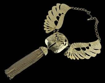 Vintage Statement Necklace - Winged Gold Tone Mythology