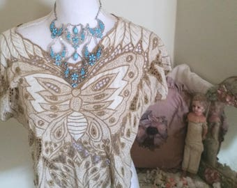 vintage butterfly top, TLC sold as is, beige and brown, stunning embroidery, loose threads, deconstructed edges