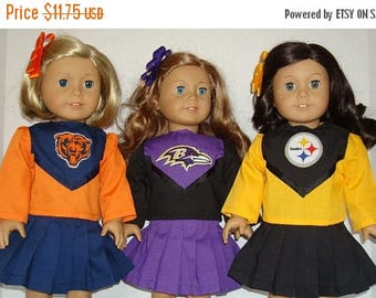"ON SALE 18"" doll clothes/Chicago Bears/Baltimore Ravens/Pittsburgh Steelers/Cheerleader outfit/Made to fit 18 inch Girl Doll/READY To Ship"