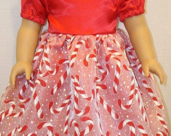 "ON SALE 18 inch Doll Clothes, Fits 18"" American Girl Doll,candy canes,holiday, ag doll, am girl, fancy dress,sparkle,doll cloths, READY To S"