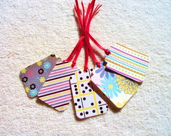 20 -  PreStrung Paper Tags - Assorted Patterns  - Free Secondary Shipping