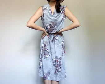 Vintage Summer Dress 70s Dress Hippie Boho Dress Sleeveless Floral Sundress 1970s Grey Dress Floral Print Dress - Extra Small to Small XS S