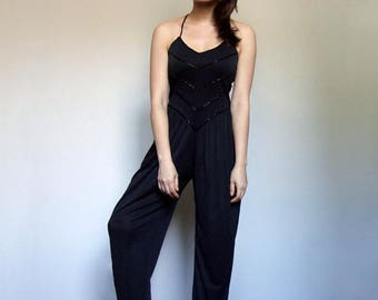 Vintage Jumpsuit Womens Black Beaded One Piece Harem Pants Jumpsuit Pockets - Extra Small to Small XS S