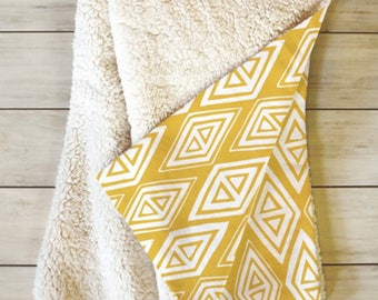 Yellow Geometric Fleece Sherpa Throw Blanket // Home Decor // Geometric // Dorm Decor // Diamond In The Rough Gold Design // Cozy Blanket