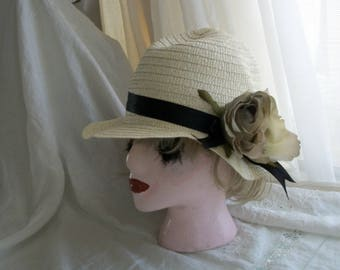 1920s Flapper Cloche Hat Taupe Rose Pale Natural Straw Brand New Orig Design One Size Fits Most