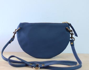 The Mini: Aegean blue leather crossbody bag