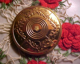 Vintage 40s VOLUPTE 24K Gold Plated Compact PANCAKE Sz  PUFF Nused Big Beautifulul
