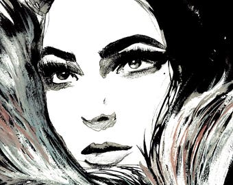 Dolce Vita, print from original watercolor and mixed media fashion illustration by Jessica Durrant