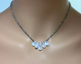 Labradorite Rondelle Necklace with Rainbow Moonstone Briolettes in Sterling Silver