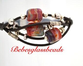Bebe's Glass Boro Bead 5 strand Black Women's Leather Bracelet Magnetic Clasp