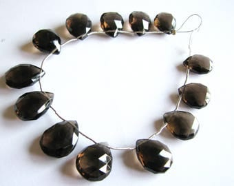 Large Smoky Quartz faceted pear briolettes, aaa focal beads, full 7.5 inch strand, 13 large beads, 14-19mm (w101)