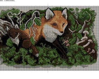 Fox Family Cross Stitch Chart