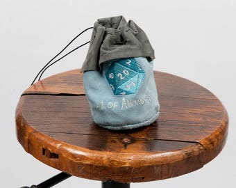 Large leather dice bag rpg gamer d20 embroidery larp pouch tabletop dungeons dragon geek nerd gift fantasy pathfinder accessory grey blue
