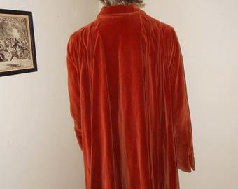 Vintage Burnt Orange 40's Velveteen Swing Coat/Full Cut MidCentury Swing Coat - Size M