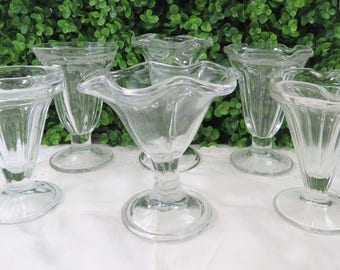 Set of 6 Vintage Mismatched Tulip Top Ice Cream Sundae or Parfait Glasses, Clear
