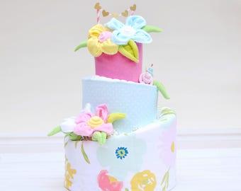Watercolor Floral Shower, Floral Baby Shower Centerpiece, Girl Shower Desert Table Decor, Grandma Baby Gift, Flower Baby Blanket Diaper Cake