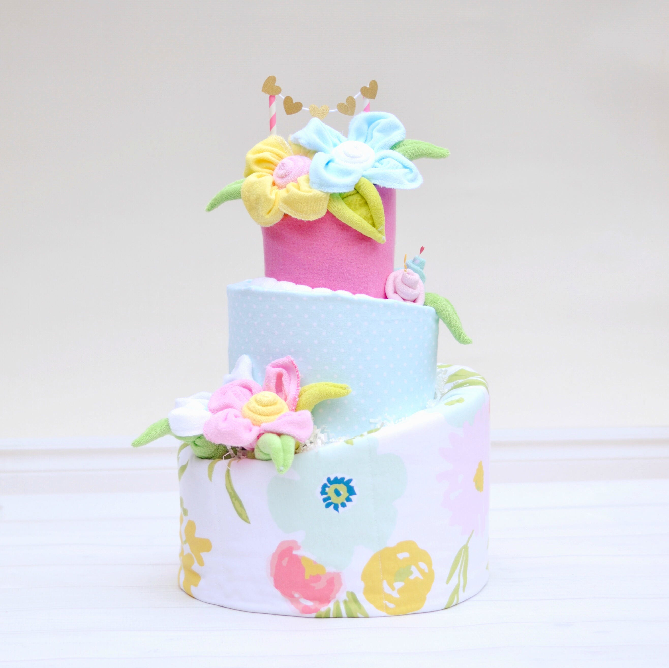 Flower Baby Shower Cake: Diaper Cake Watercolor Floral Shower Floral Baby Shower