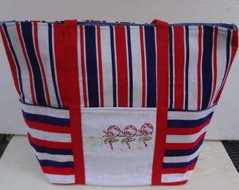 Day of the Week Trimmed Market Bag / Vintage Hand Embroidered