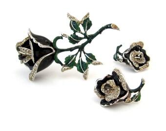 1940s High End Black Rose Enamel Brooch Earrings Set | Flower Rhinestone Demi Parure | Vintage 40s Jewelry