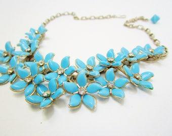 Vintage Lucite Blue Cluster Flowers Bib Choker Necklace Collar Rhinestone Centers 40's Art Nouveau Rockabilly  Statement Art Deco Retro