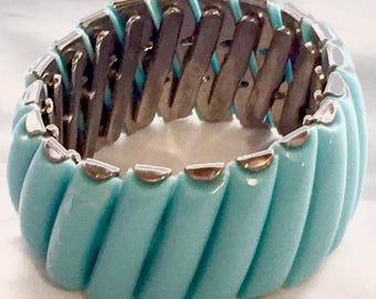 Vintage Thermoset Aqua Turquoise Expandable Mid Century Bracelet Bangle Cuff 1950's Art Deco Retro Runway Statement