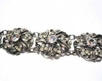 Chunky Rhinestone Bracelet, Vintage Rhinestone Cuff, Plus Size Jewelry, Bridal Jewellery, Wedding Accessories, Diamante Cuff, Retro, Sparkly