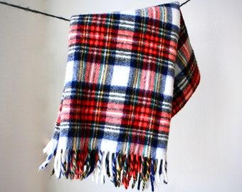 Vintage Mid Century Plaid Wool Blanket, Camping Blanket, Throw, Stadium Blanket, Tartan Plaid