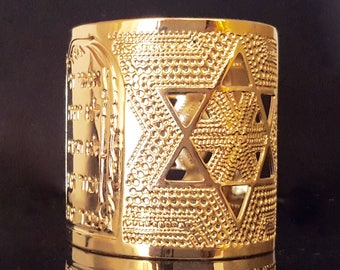 Gold cuff bracelet, Jewish jewelry, Ten Commandments, Star of David, Jewish star, gold jewelry, gold bracelet, Cuff bracelet, Modern jewelry