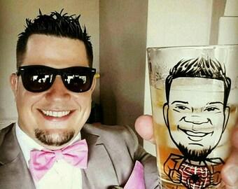Caricature Glasses - Custom Groomsmen Gifts - Groomsmen Gift - Groomsman Gift - Super Hero Vintage Style - Hand Painted Beer Glass