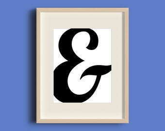 Office Wall Art, Office Prints, Ampersand Art, Typography Wall Decor, Black White Decor, Office Wall Prints, Office Decor, INSTANT DOWNLOAD