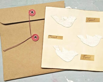 Large Handmade card, primitive handmade card, collage card, bird card, rustic, love card, country cottage, recycled, button string envelope