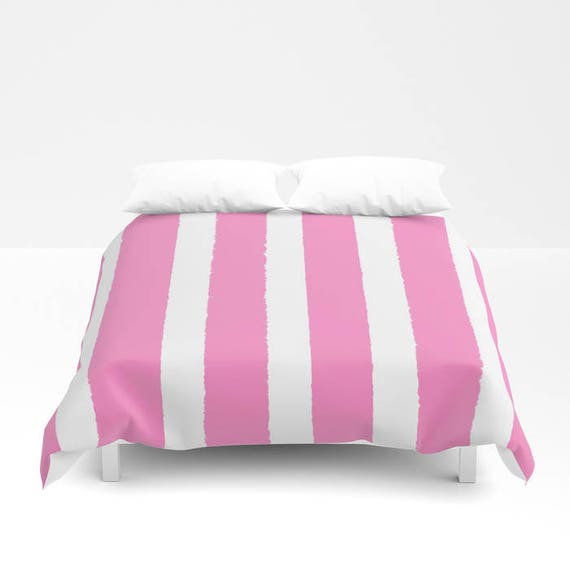 Bubblegum Pink and White Stripe Duvet cover -  Duvet cover - Pink bedding - Twin XL duvet - queen duvet cover - king duvet cover  full duvet