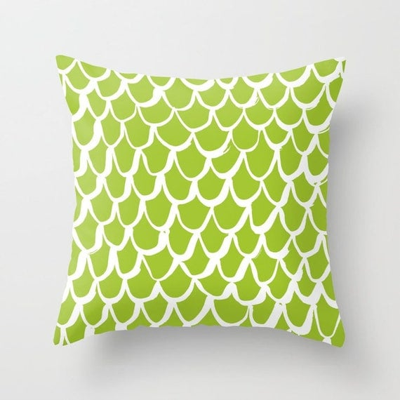 Lime and White Mermaid Throw Pillow - Lime Pillow - Green Cushion - Mermaid Pillow - Green Pillow - Lime Mermaid Cushion 16 18 20 24 inch