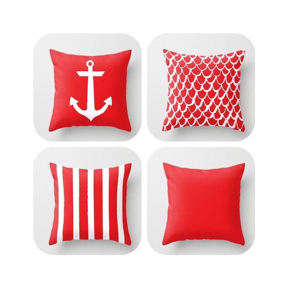 Red Throw Pillow . Mermaid Pillow . Anchor Pillow . Coastal Pillow . Ruby Striped Pillow . Cushion . Scarlet Throw Pillow 14 16 18 20 inch