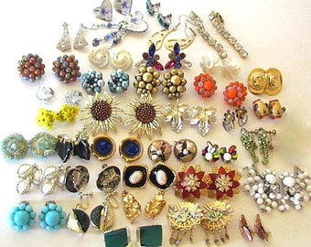 Lot of 35 Vintage Earrings most are Clip On Sarah Coventry Coro Japan Germany Rhinestone Lucite