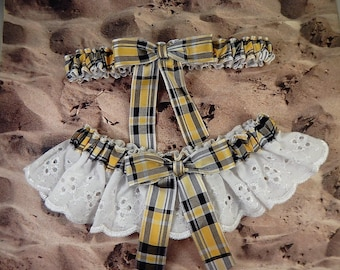 Yellow Gold Black Plaid White Eyelet Lace Barn Country Outdoor Wedding Garter Toss Set